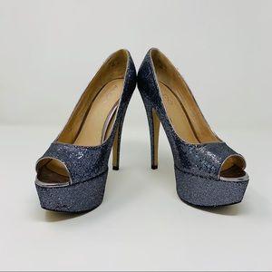Aldo Berthina Open Toe Glitter Platform Heels
